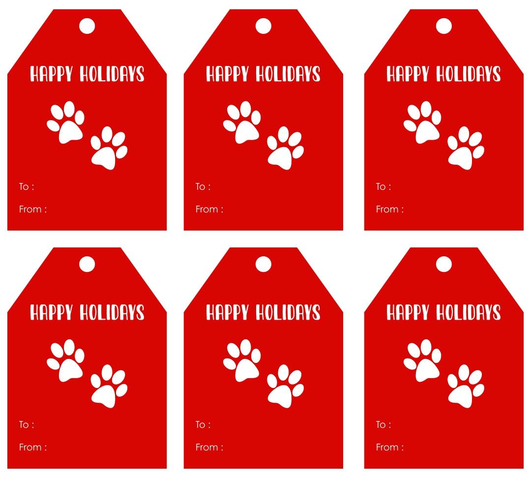 8 Images of Paw Print Tag Christmas Printable