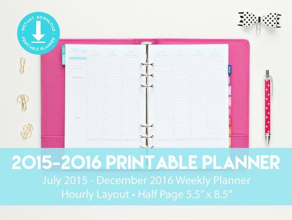 of Printable Hourly Planner Calendars 2016 - Free Printable Hourly ...