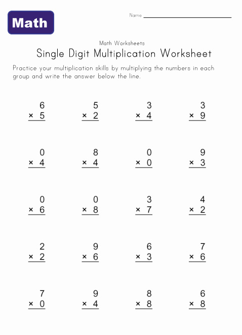 Basic Math Worksheets For 2nd Grade : Simple multiplication facts worksheets math