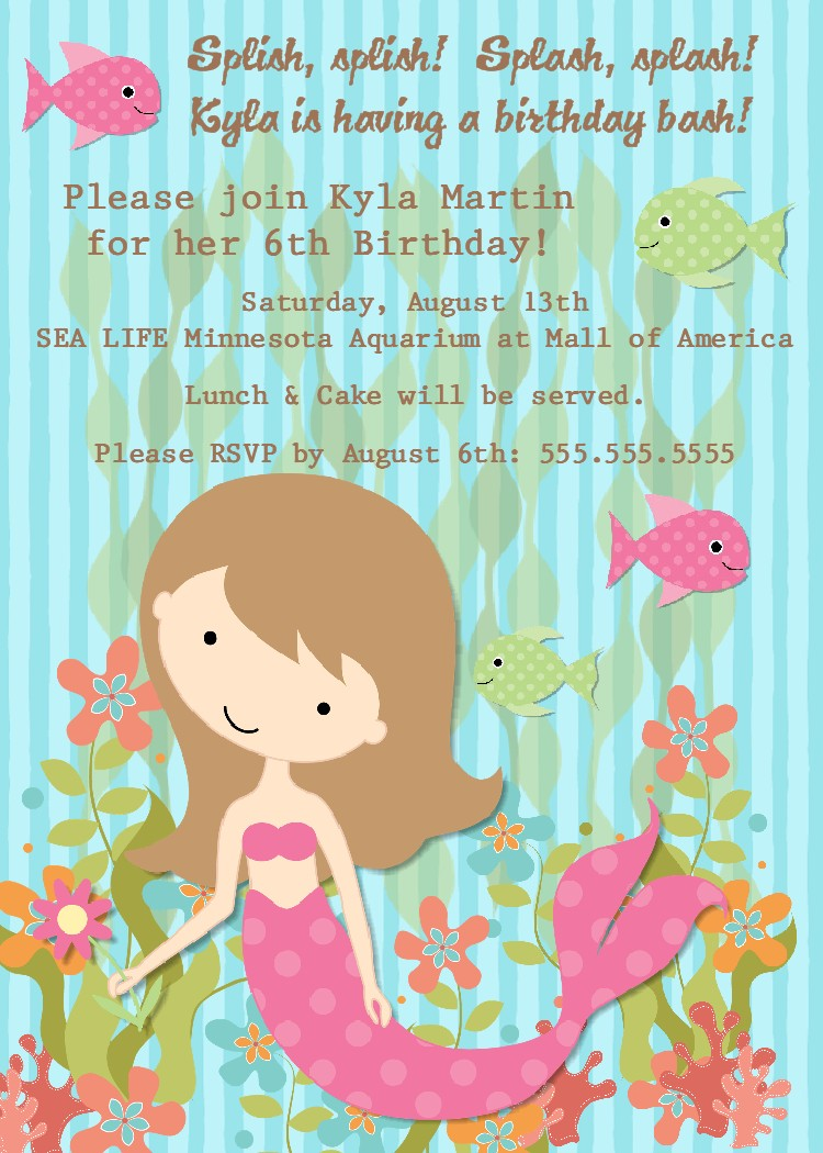 8 Best Images of Mermaid Printable Party Invitations ...