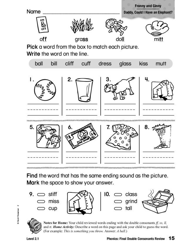Printables First Grade Phonics Worksheets 5 best images of first grade printable phonics worksheets 1st double consonants worksheets