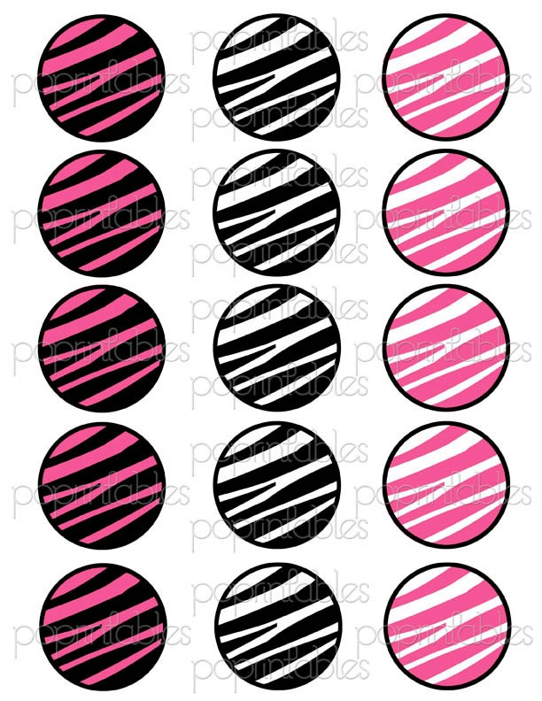 6 Images of Zebra Print Cupcake Toppers Printable