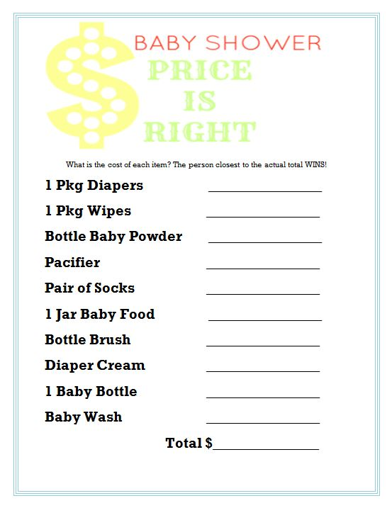 8 Images of Baby Price Is Right Printable Game