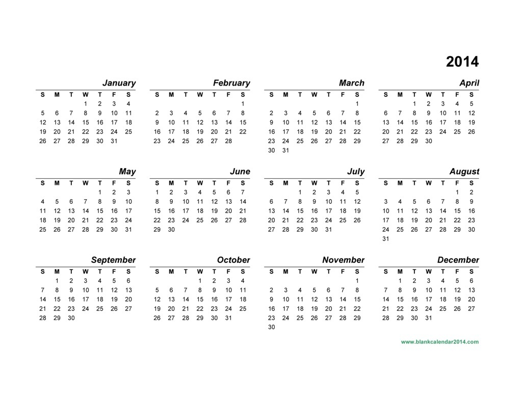 5 Images of 2014 Yearly Calendar Landscape Printable