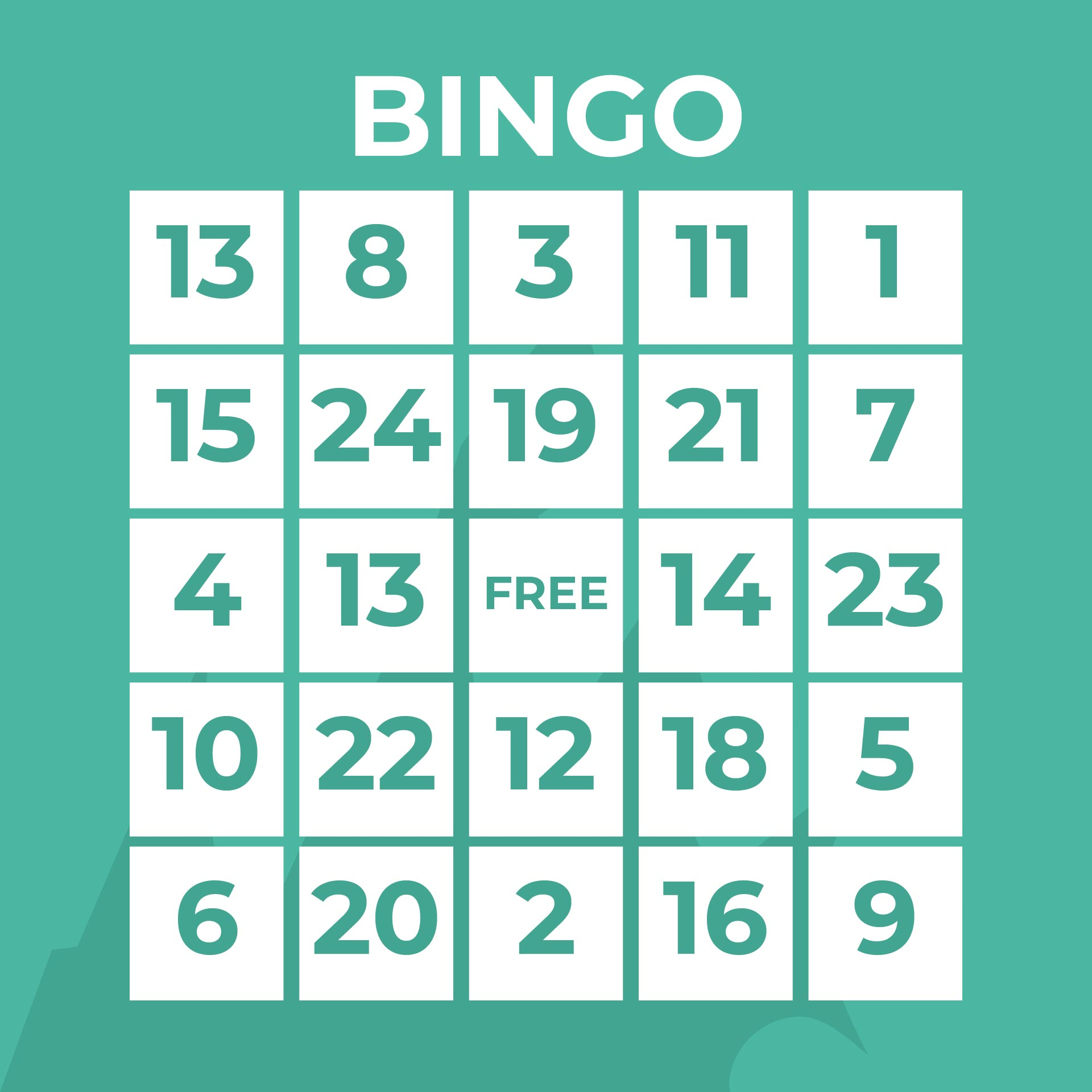 Free Printable Bingo Numbers Sheet
