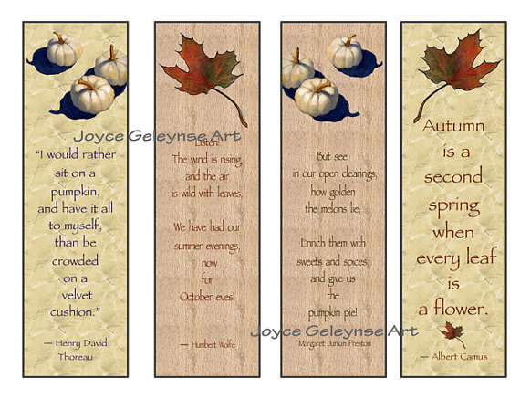 5 Images of Autumn Bookmarks Free Printable