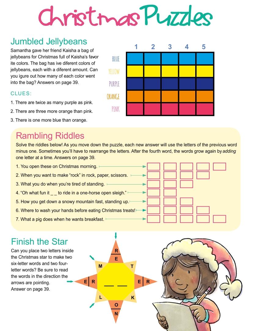 Printable Christmas Puzzles Brain Teasers