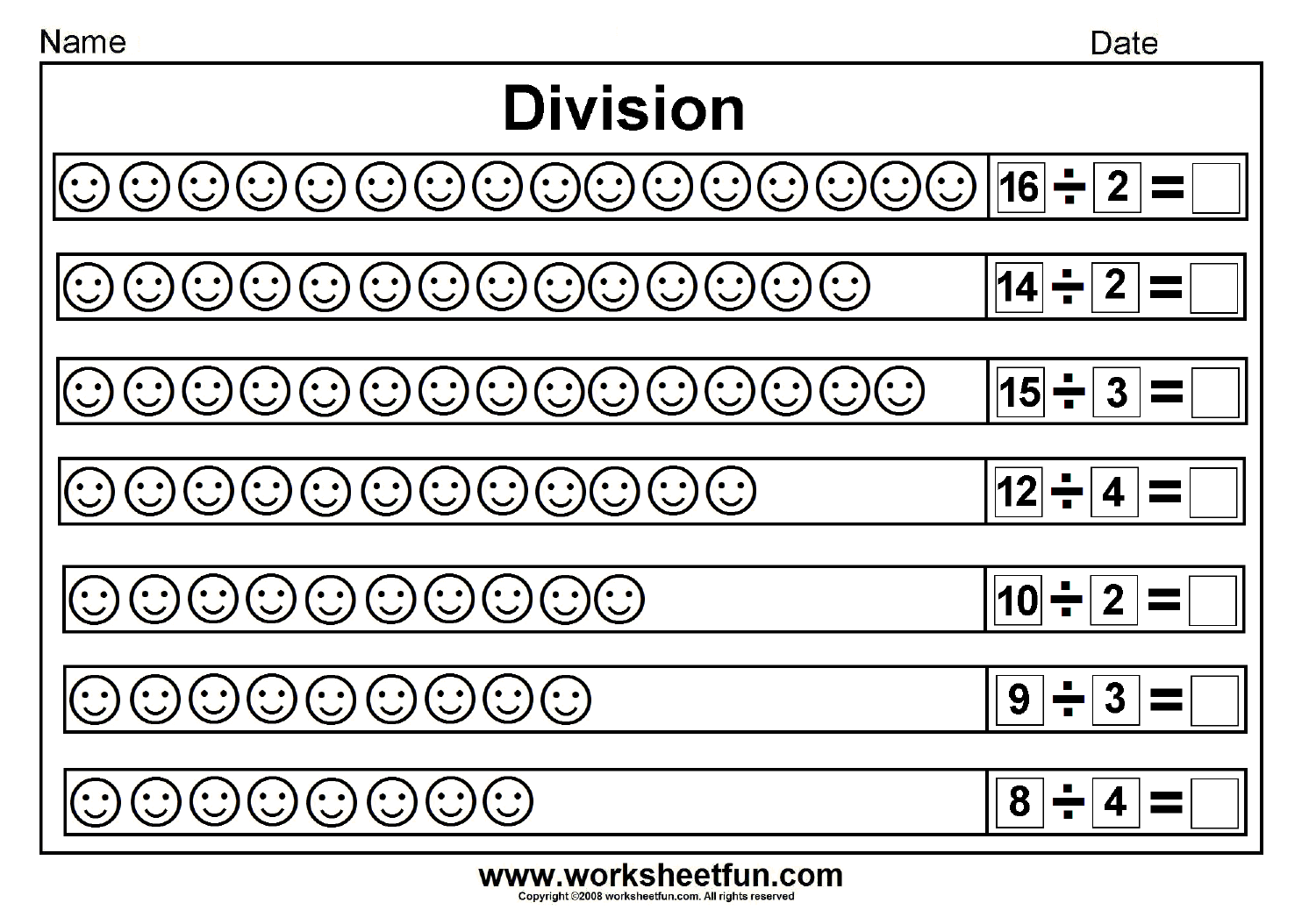 Division homework worksheets – Division Worksheets with Pictures