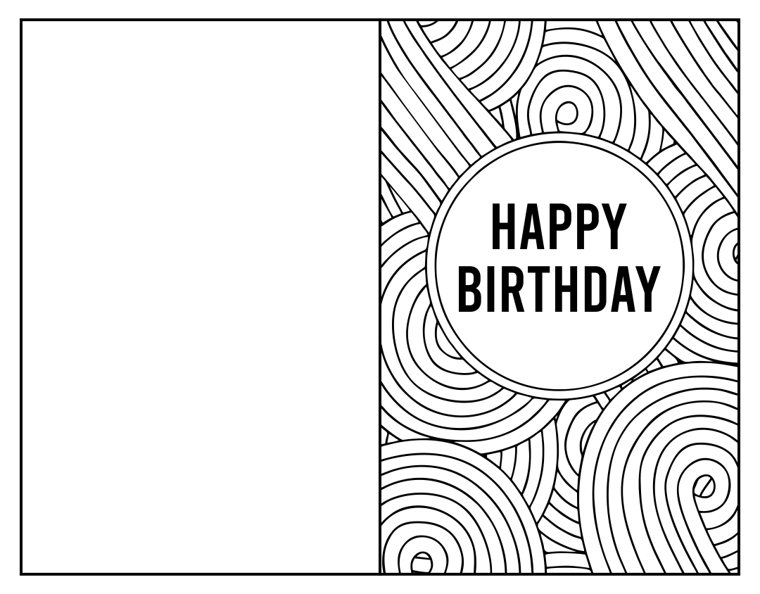 Printable Folding Birthday Card Black and White