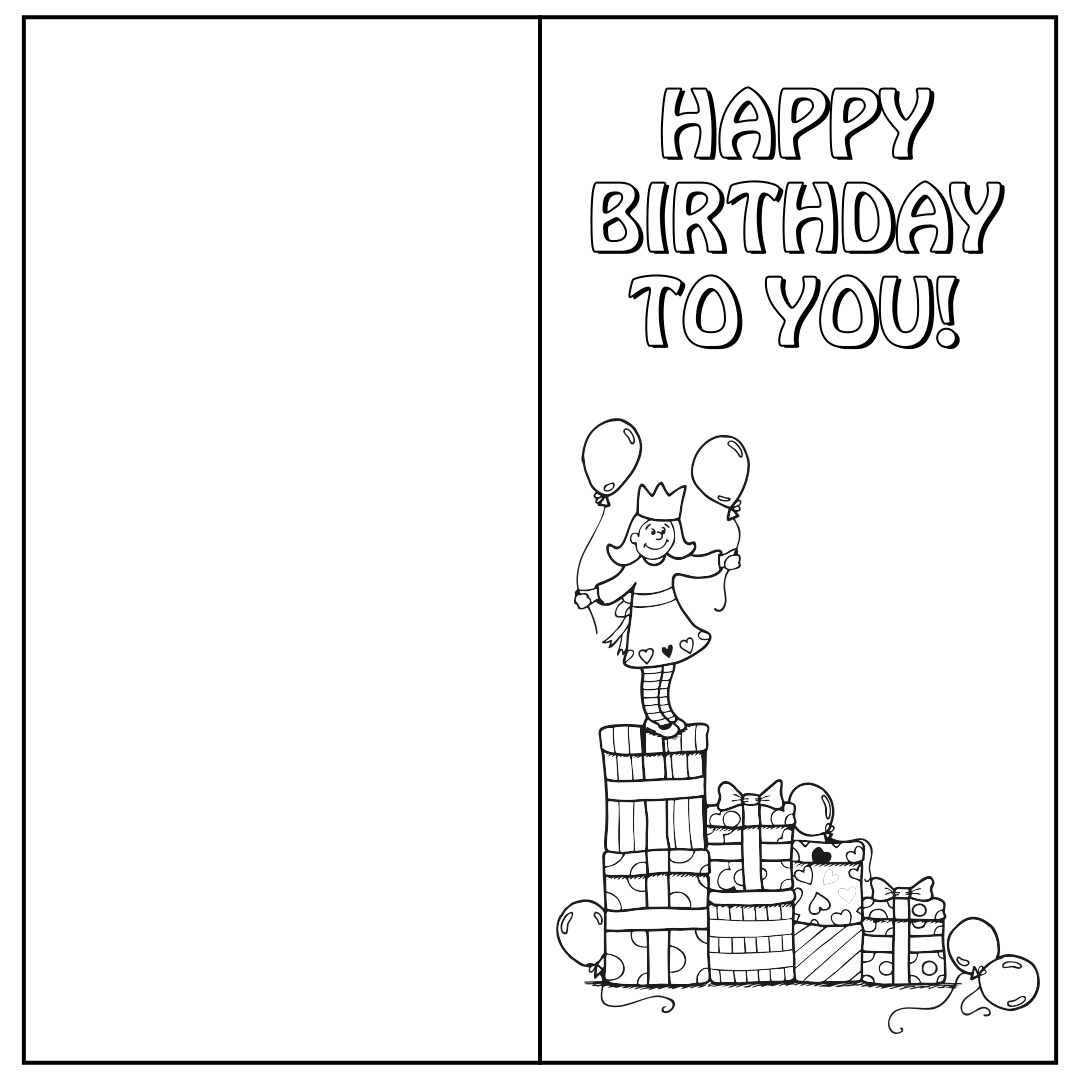 Printable Folding Birthday Cards for Kids
