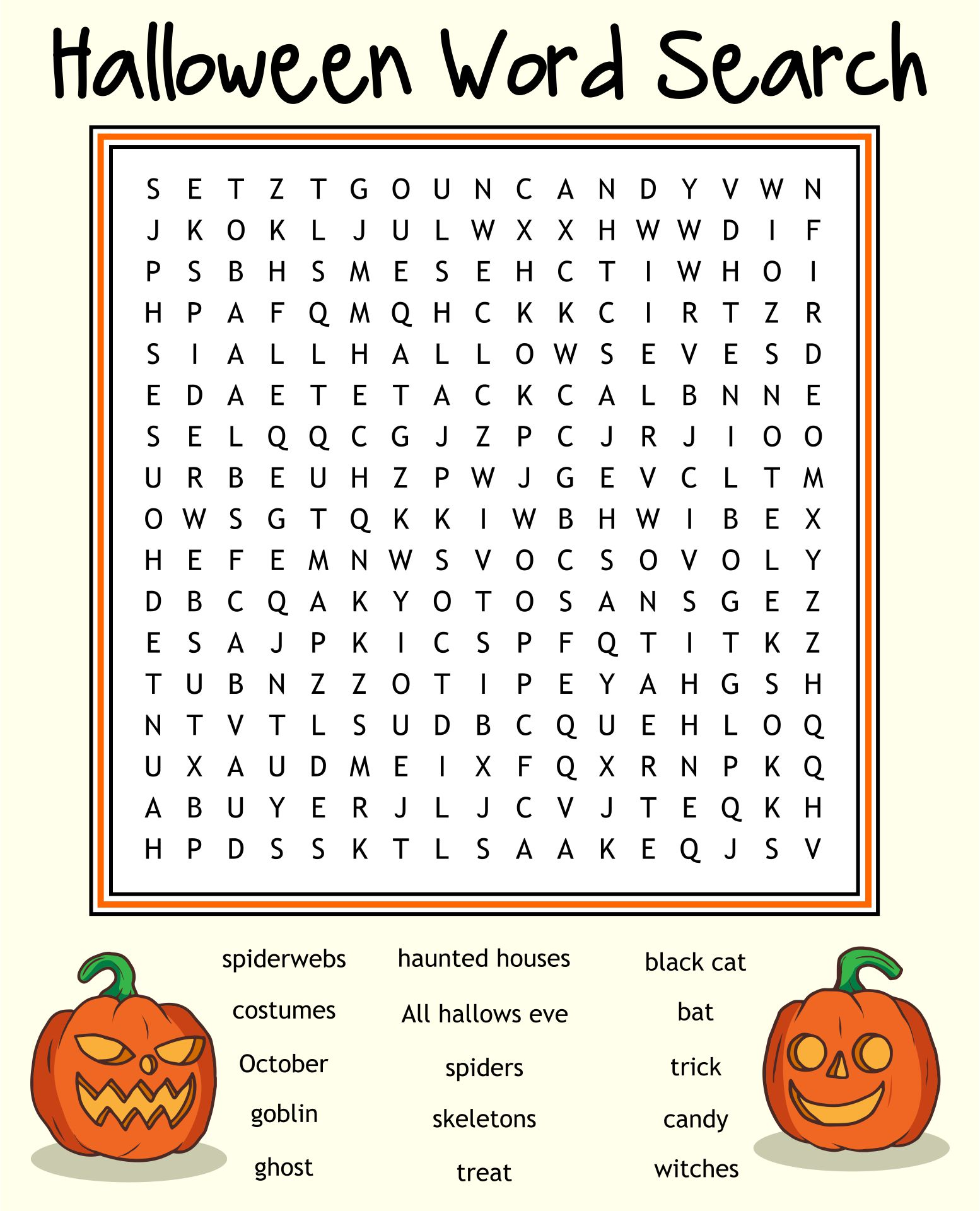 Printable Halloween Word Search Pages