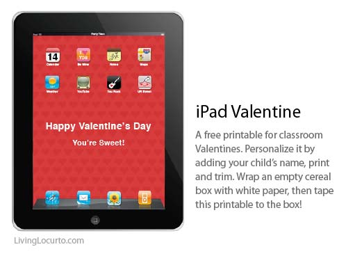6 Images of IPad Valentine Day Box Printable