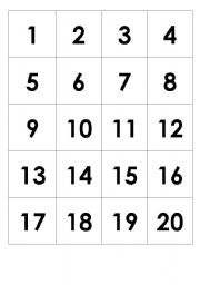 8 Images of Printable Number Cards 1- 20