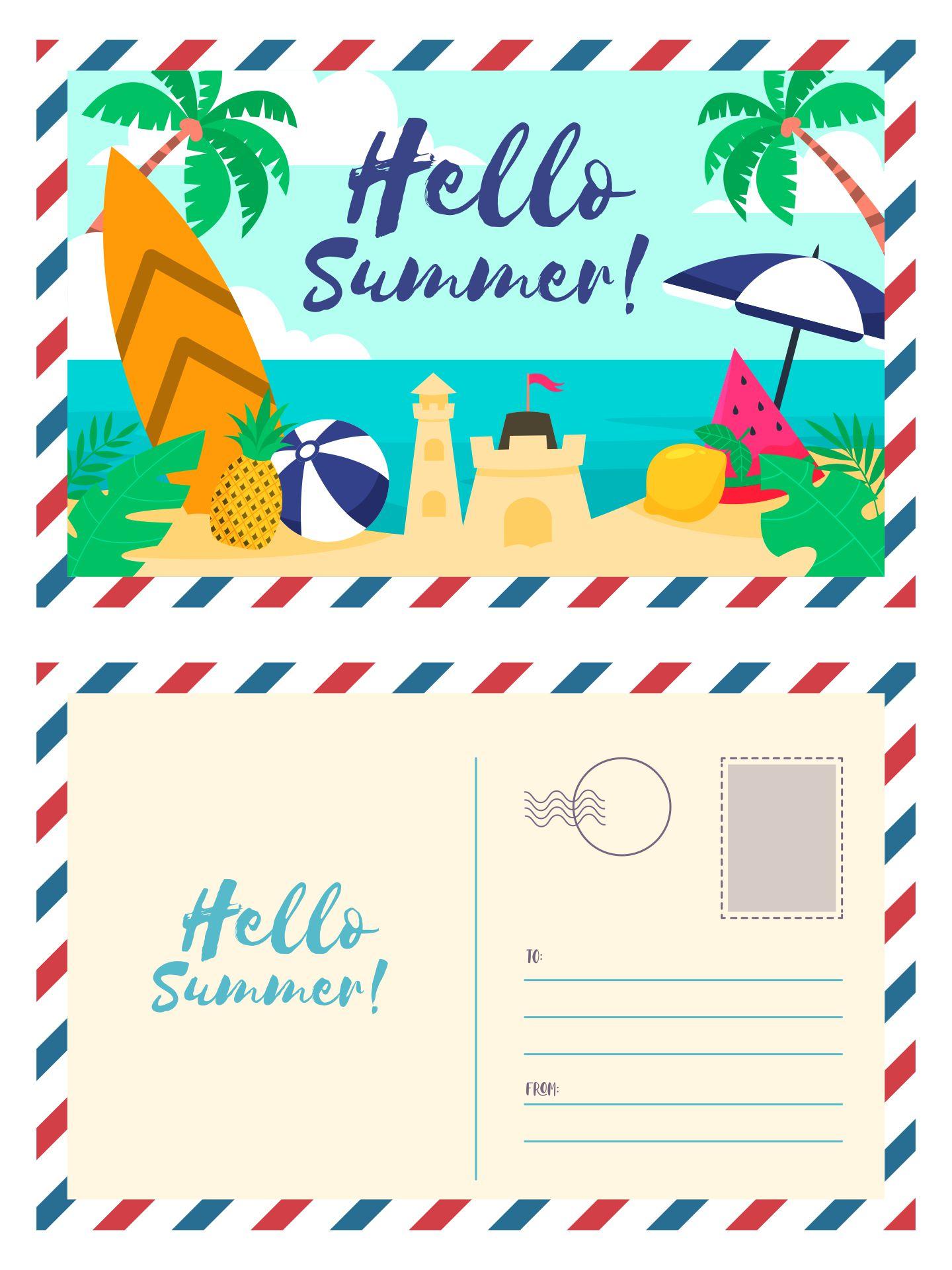 Printable Summer Vacation Postcards