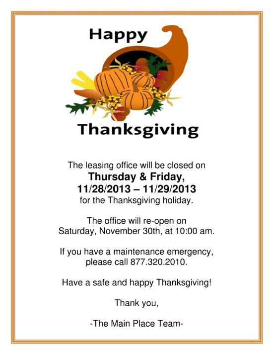 Exhilarating image with regard to thanksgiving closed sign printable