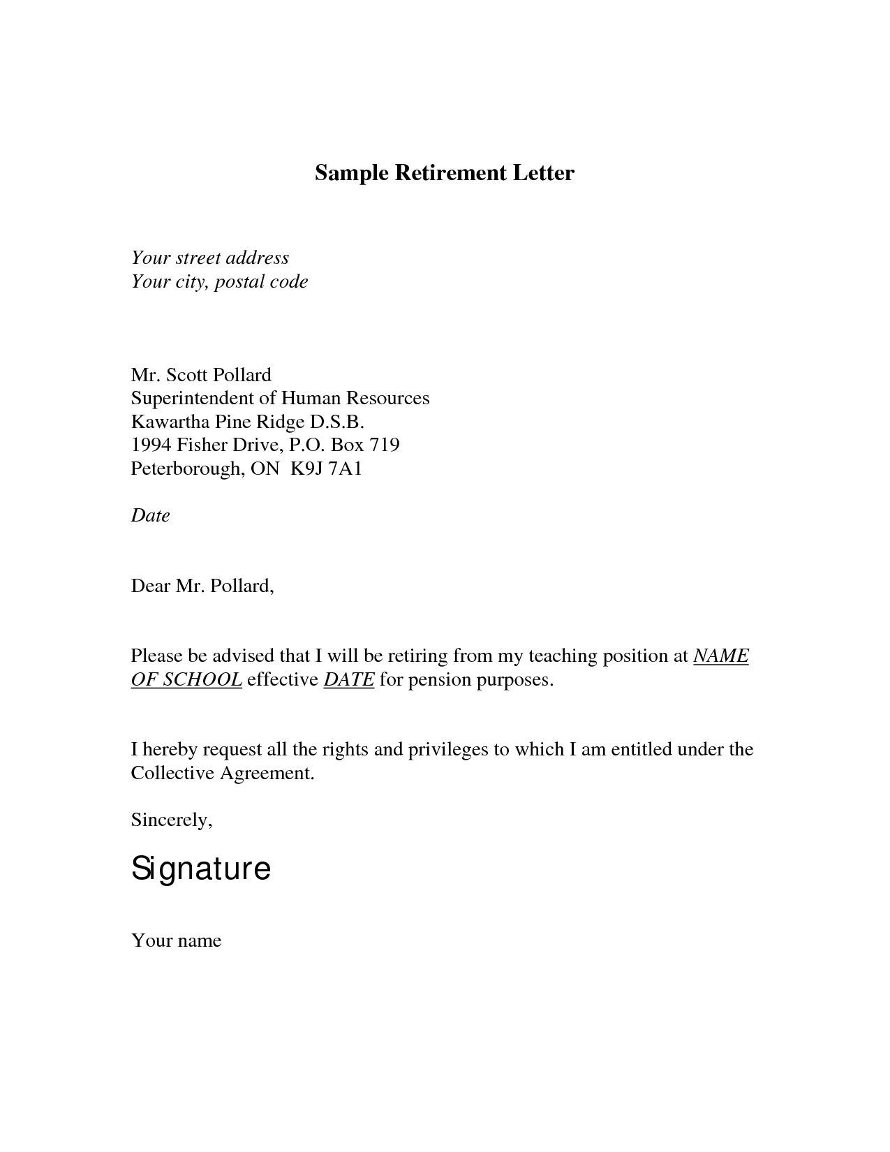 sample letter of resignation retirement