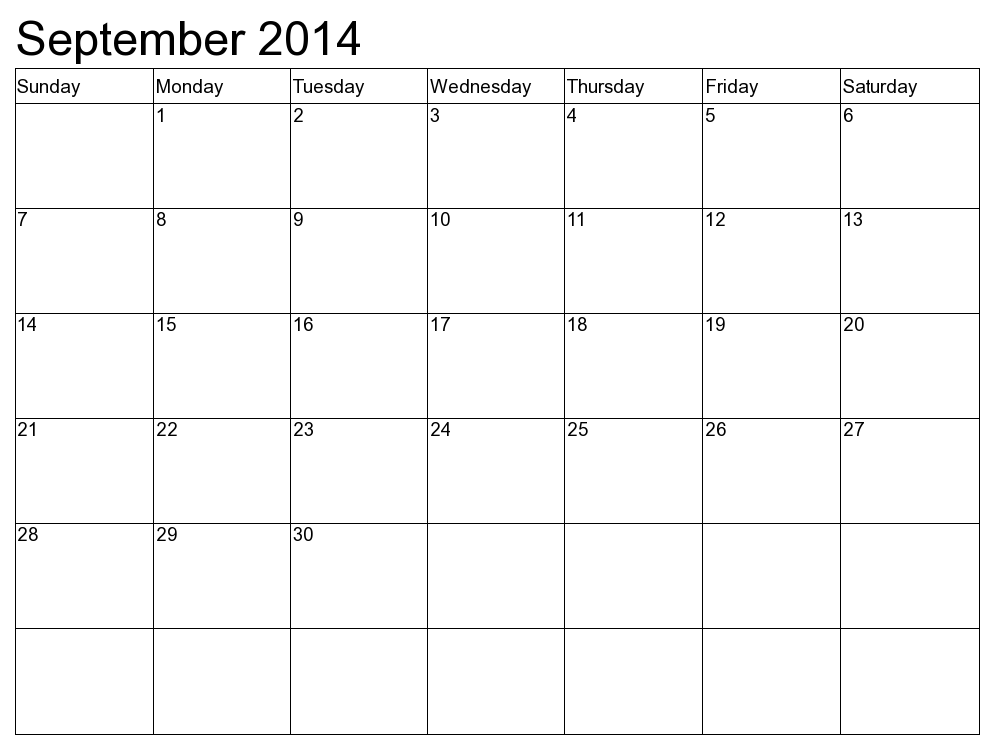 5 Images of Sept 2014 Calendar Printable Template
