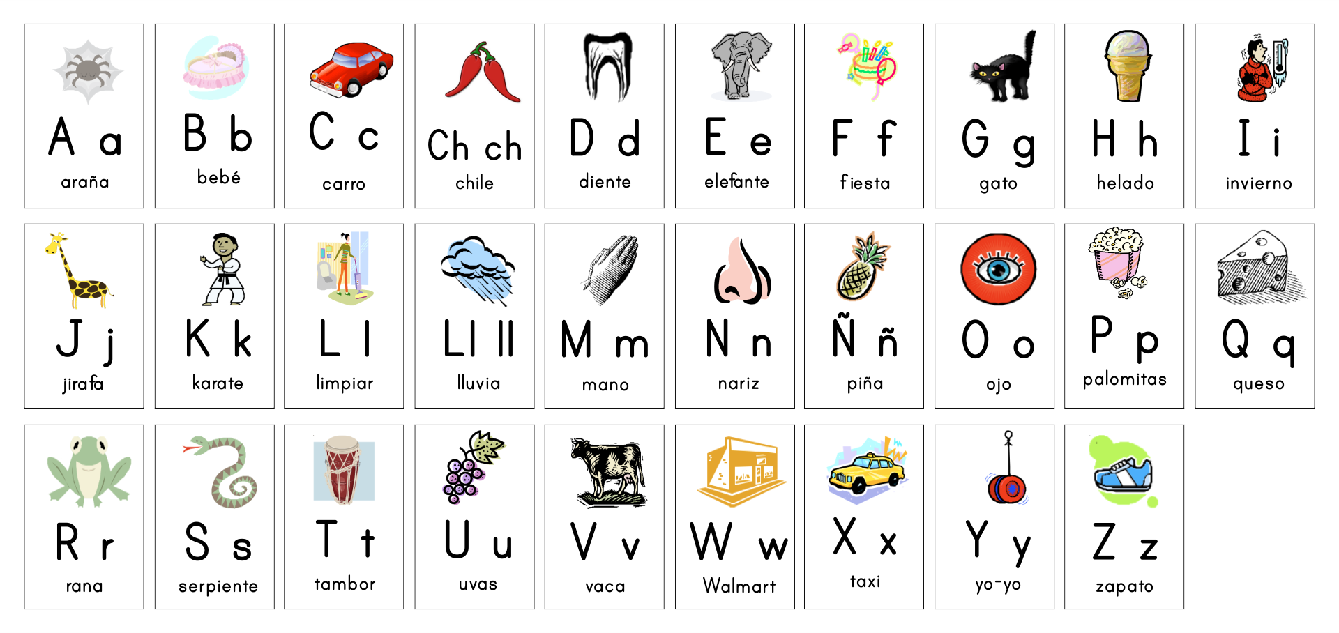 Spanish Alphabet Cards Printable