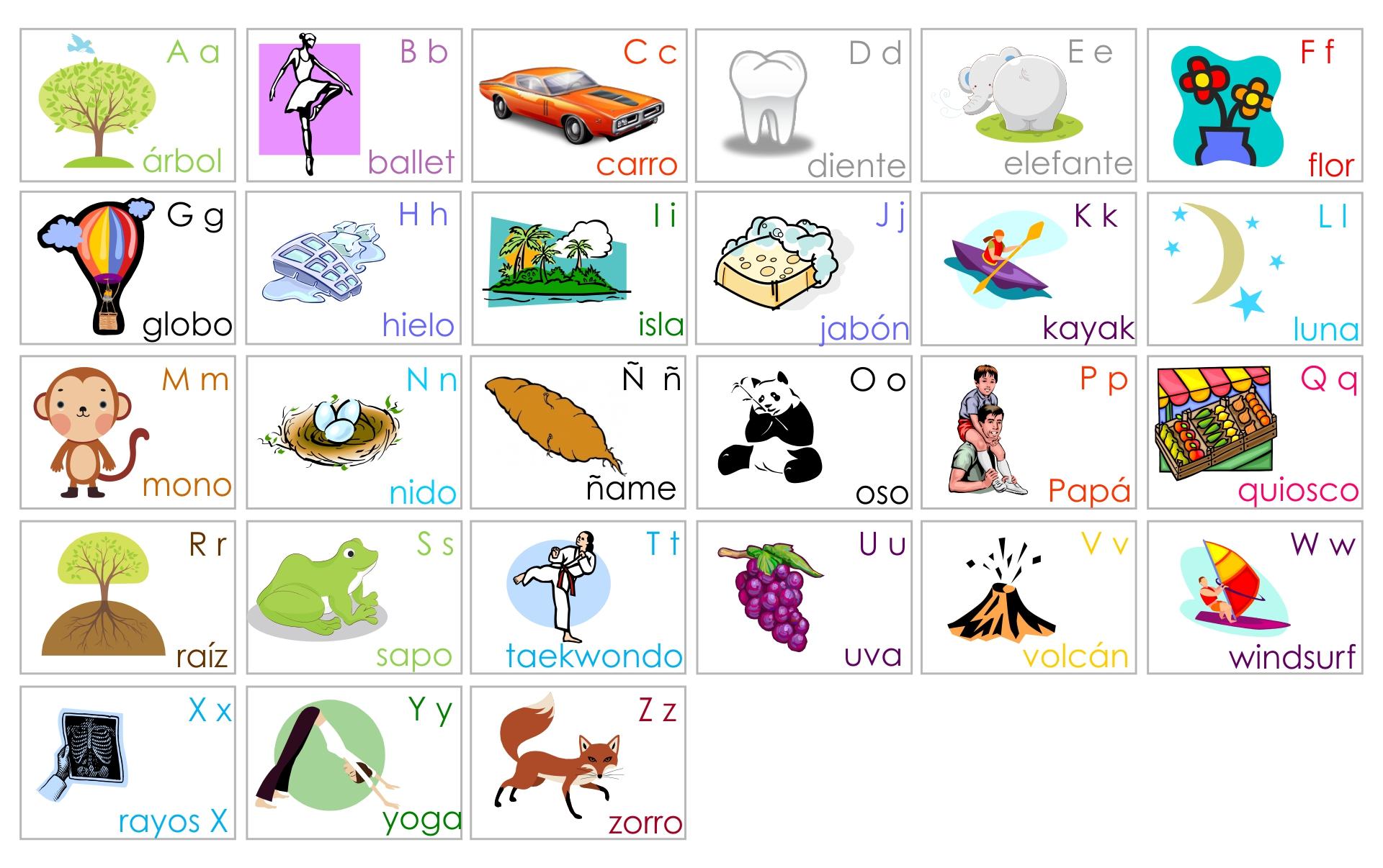 Spanish Alphabet Flash Cards Printable