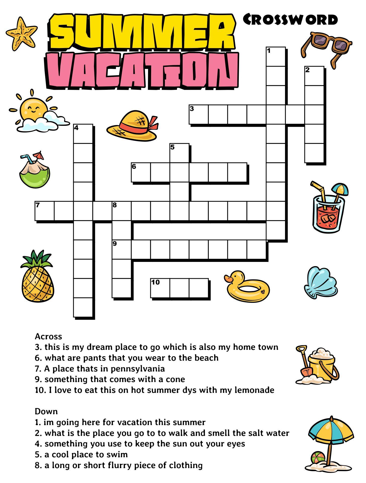Summer Vacation Printable Worksheets
