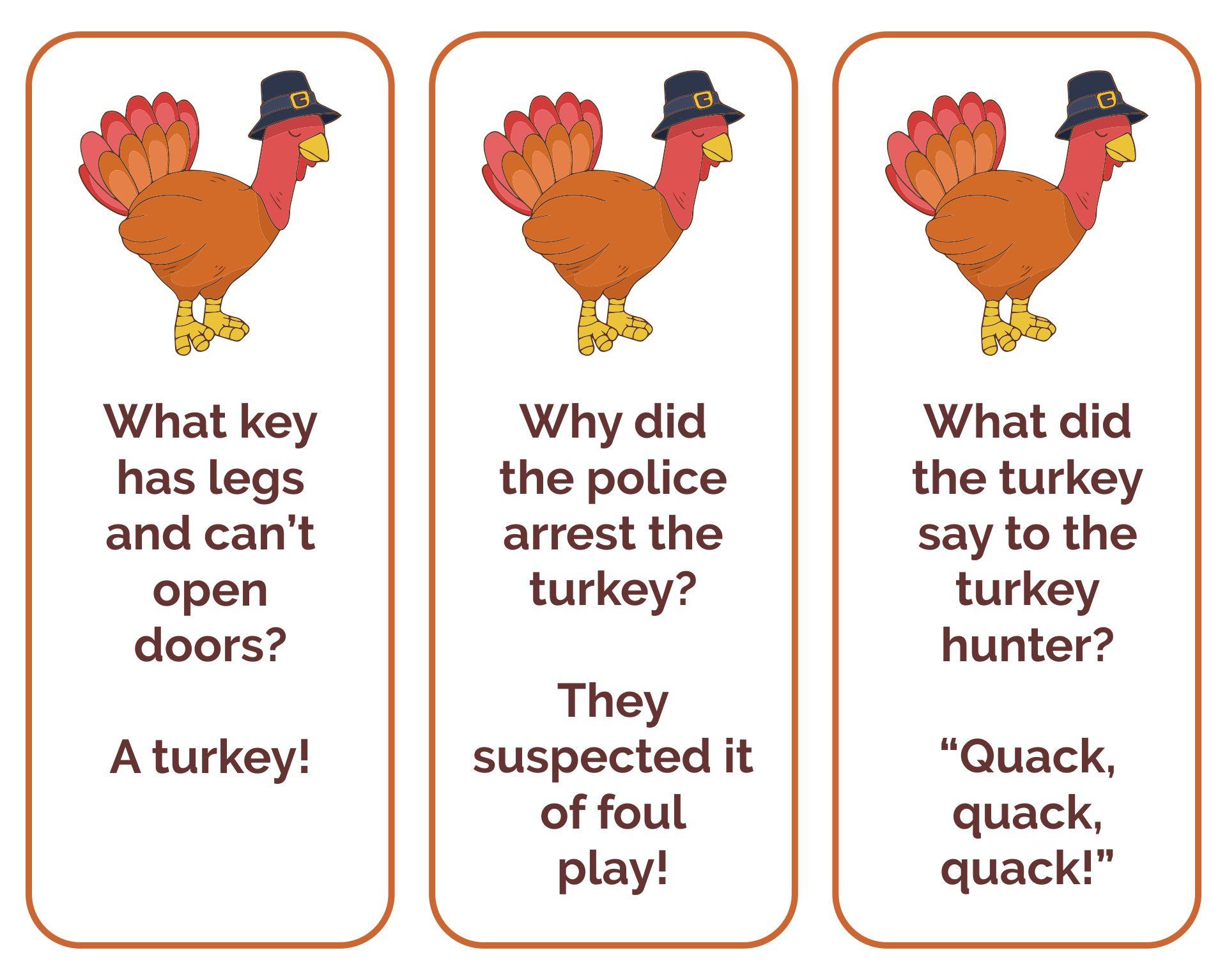 Thanksgiving Bookmarks Jokes