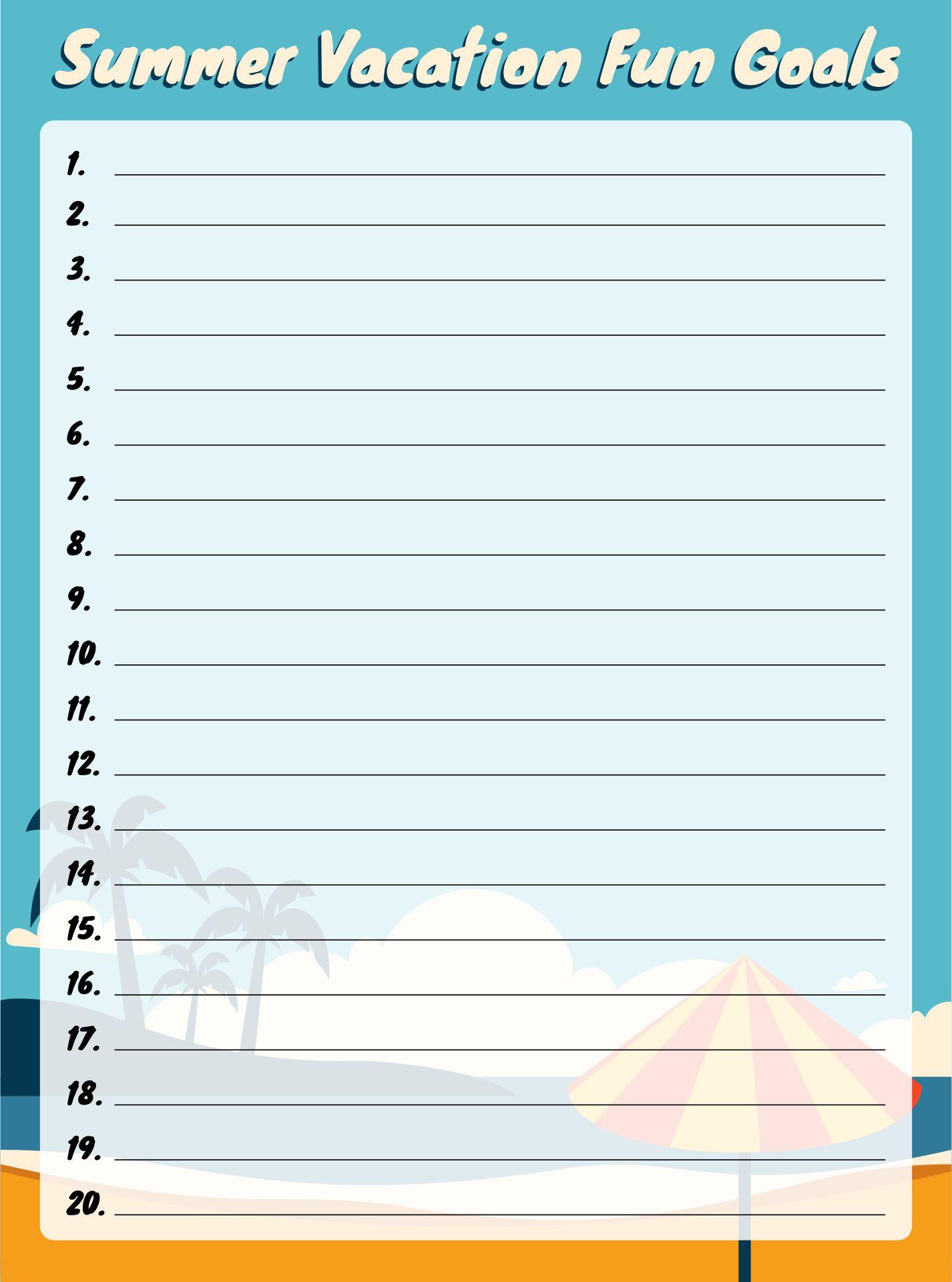 Vacation Fun Printables Goals