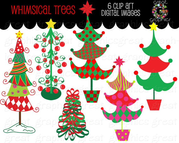 Whimsical Christmas Tree Clip Art