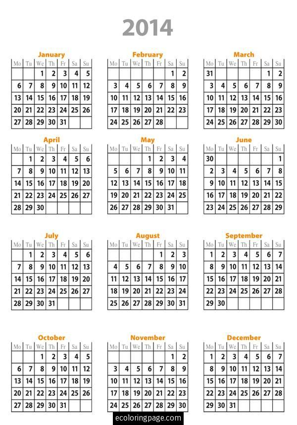 7 Images of Free Printable 2014 Calendar Year