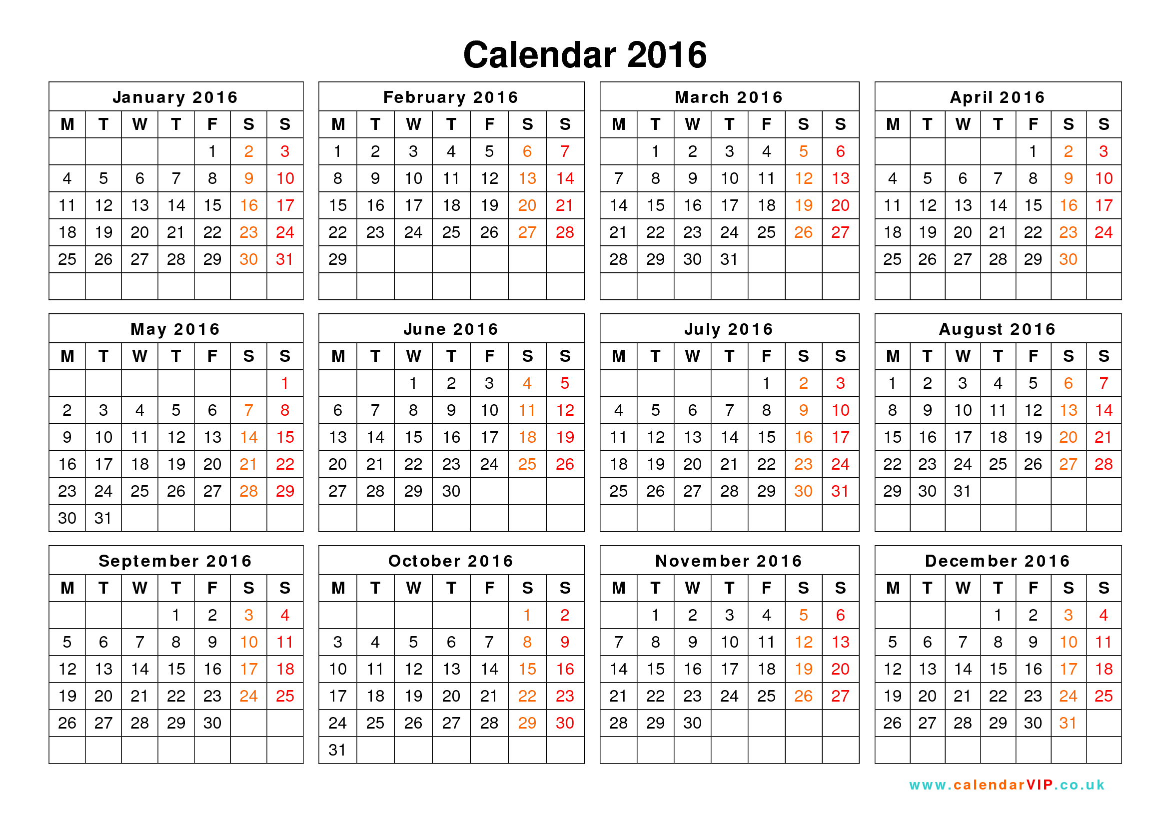 9 Images of Stylish Free Printable 2016 Calendar