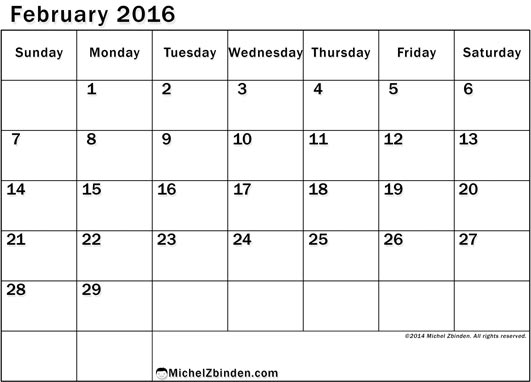 7 Images of 8 12 X 11 Printable February 2016 Calendar
