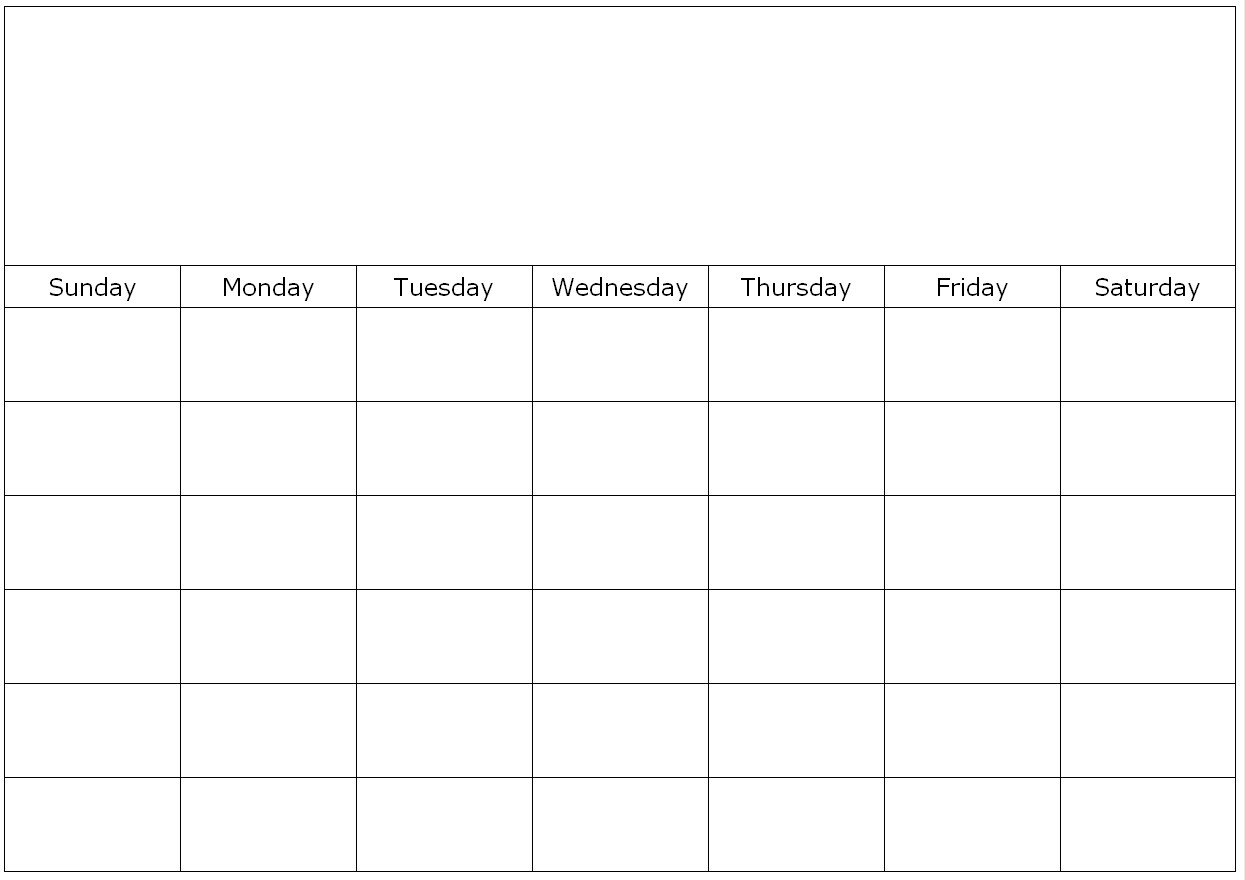Blank Calendar Page Template