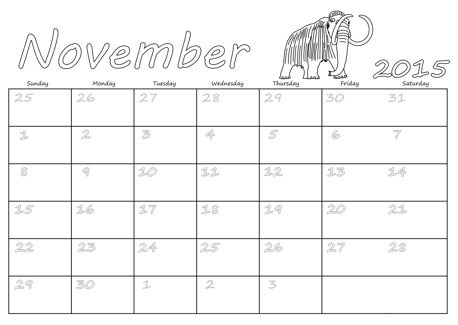 Blank November Calendar 2015 Printable
