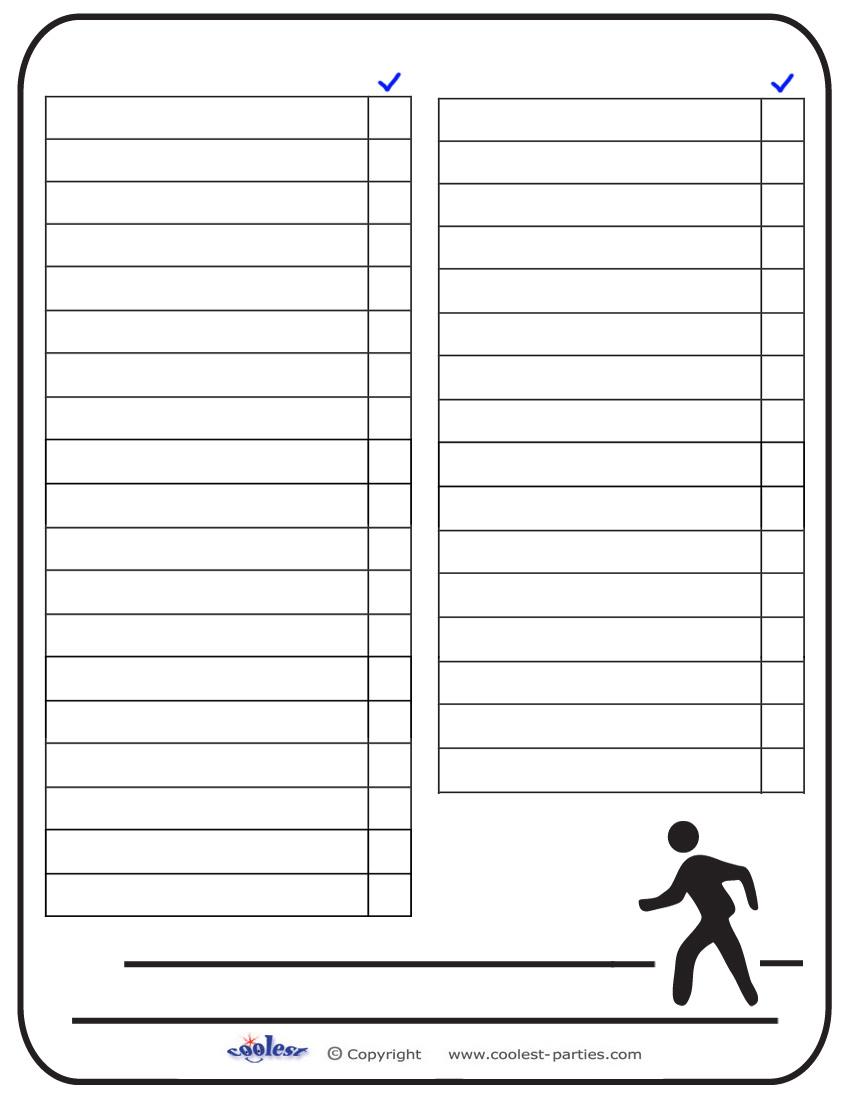 8 Images of Printable Blank Scavenger Hunt List
