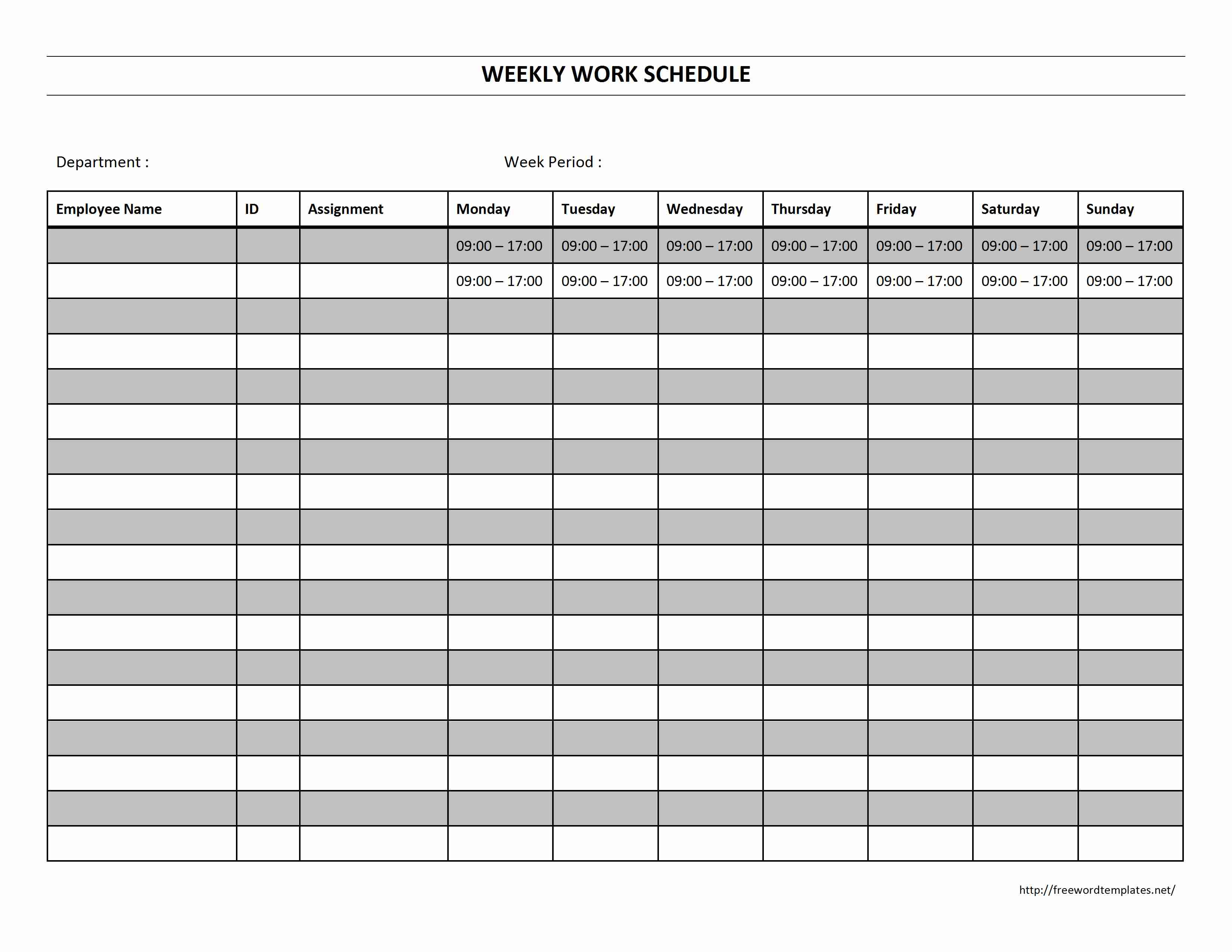 6 best images of free printable blank work schedules