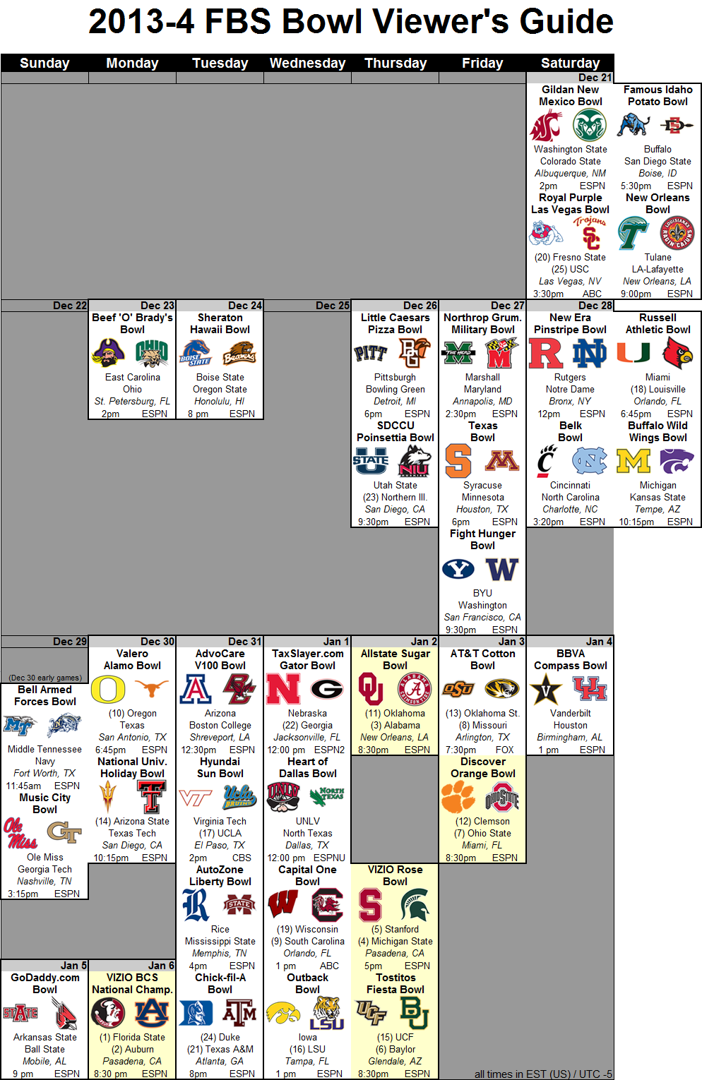 College Football Bowl Schedule 2013