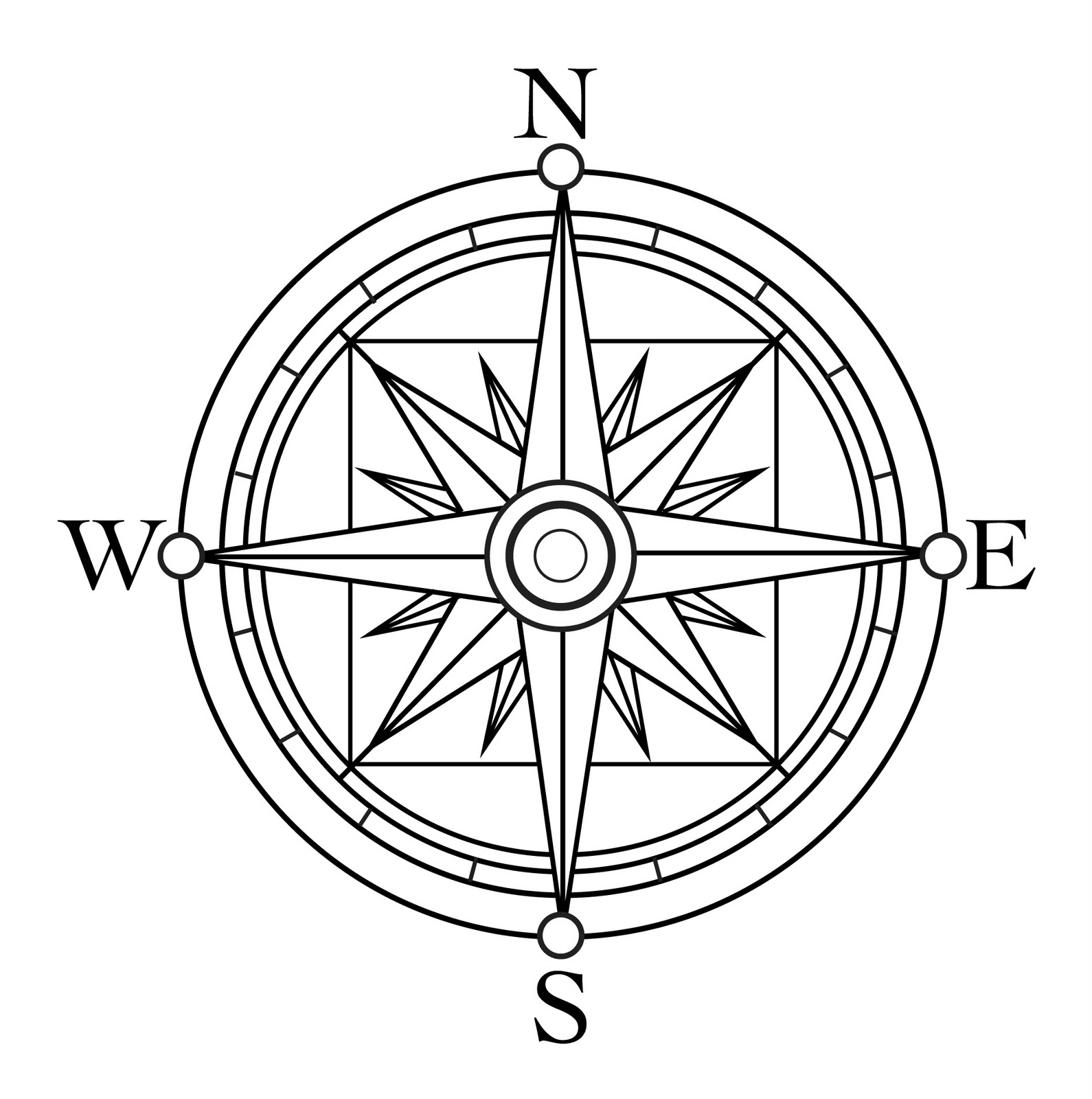 4 Images of Printable Compass Rose To Color