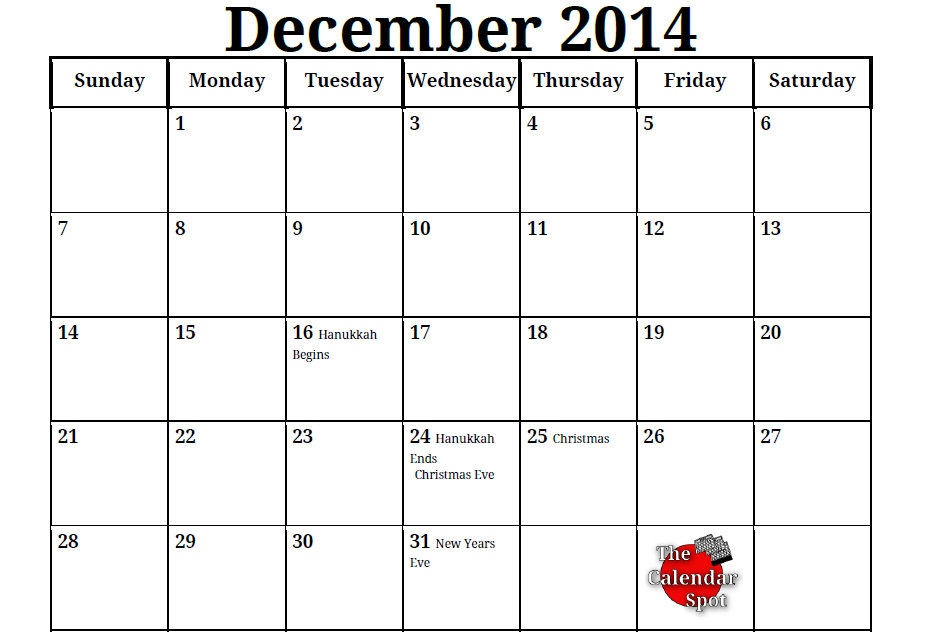 6 Images of Free Printable Monthly Calendar Template December 2014