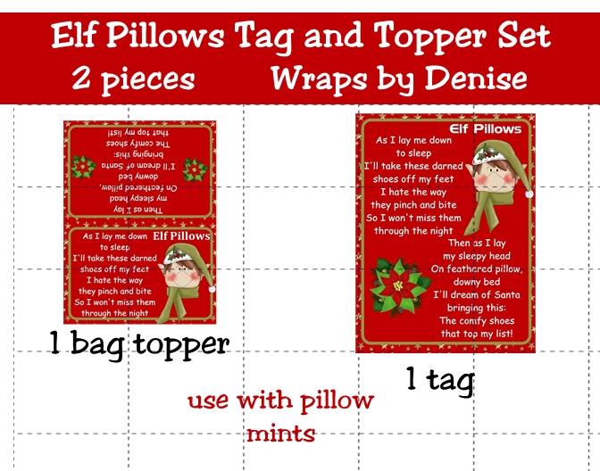Elf Pillows Poem Printable Tag