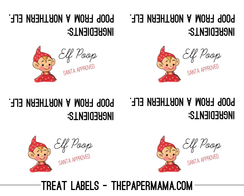 Elf Poop Printable Label