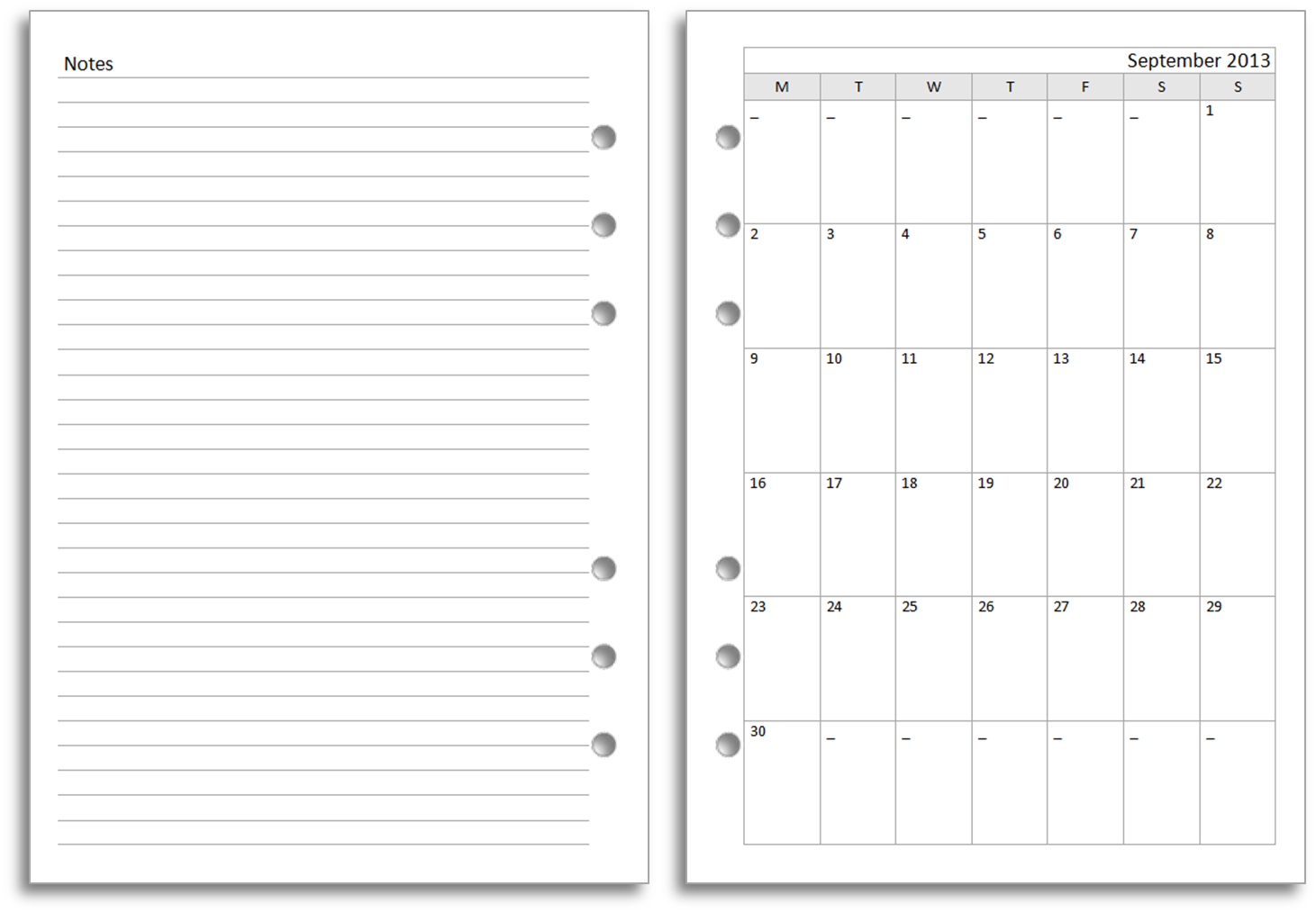 Free Undated Month On Two Pages Planner Inserts | Planner Inserts