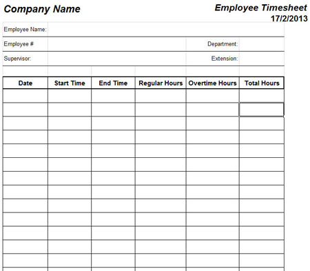 6 Images of Microsoft Office Timesheet Templates Printable