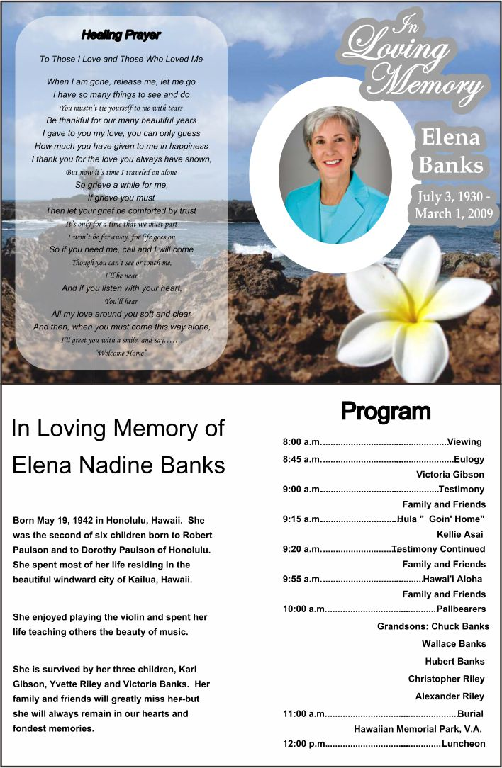 7 best images of printable funeral program templates for Free funeral program template