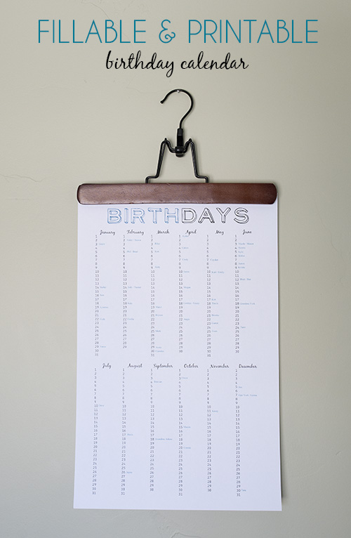 7 Images of Fillable Birthday Calendar Printable Free