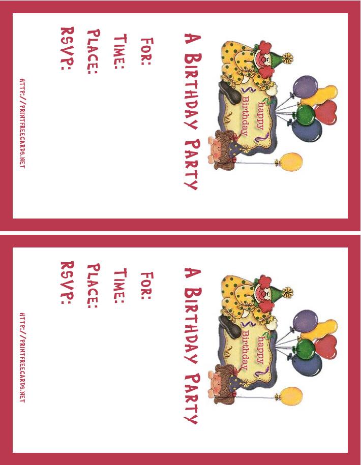 7 Images of Free Printable Happy Birthday Invitations