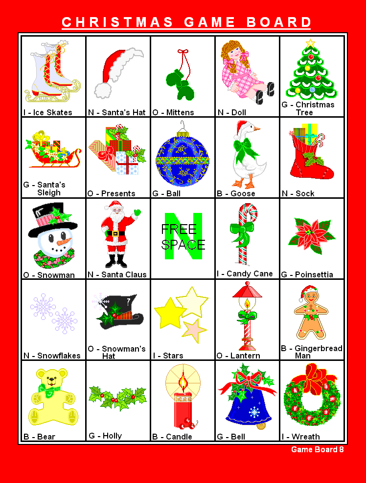 Printable Christmas Bingo Game Cards