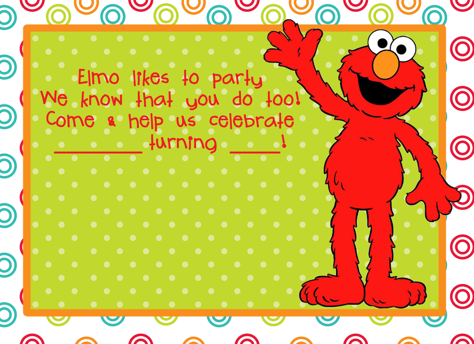 Free Printable Elmo Birthday Invitation Template