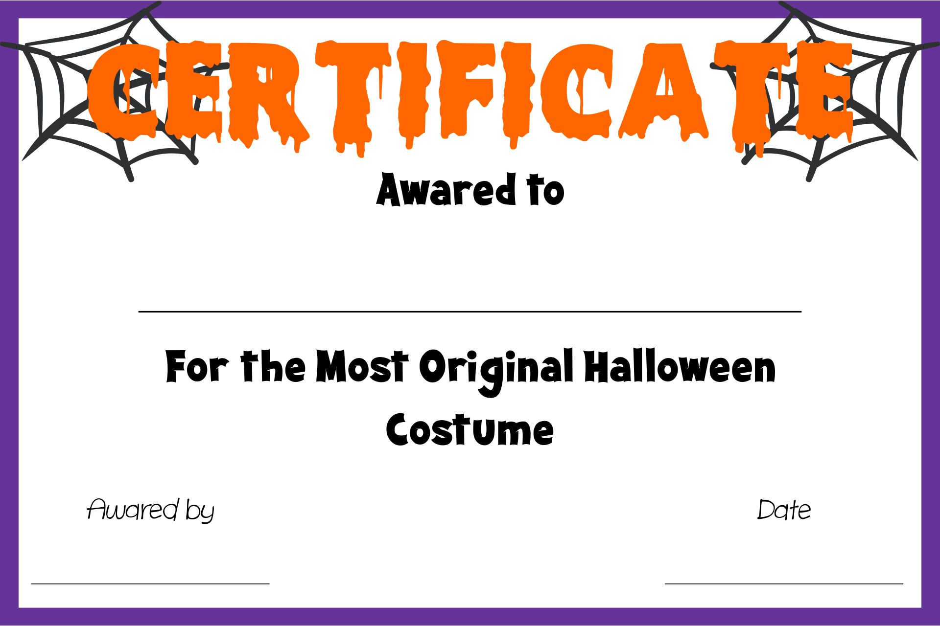 Printable Halloween Certificate Awards Templates