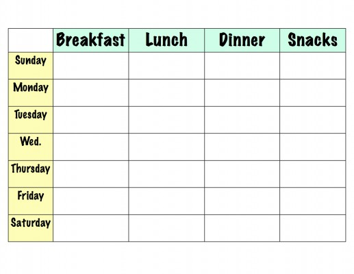 8 best images of meal planning template printable for Free weekly meal planner template