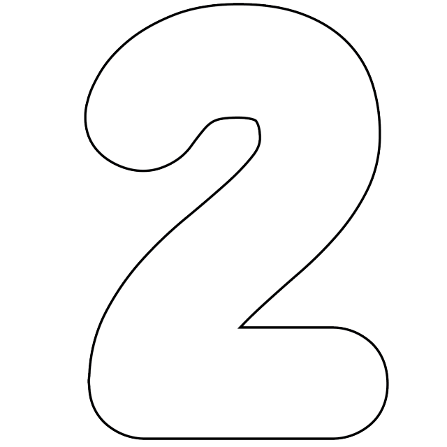 7 best images of two printable number template number 2 for Number 2 cake template