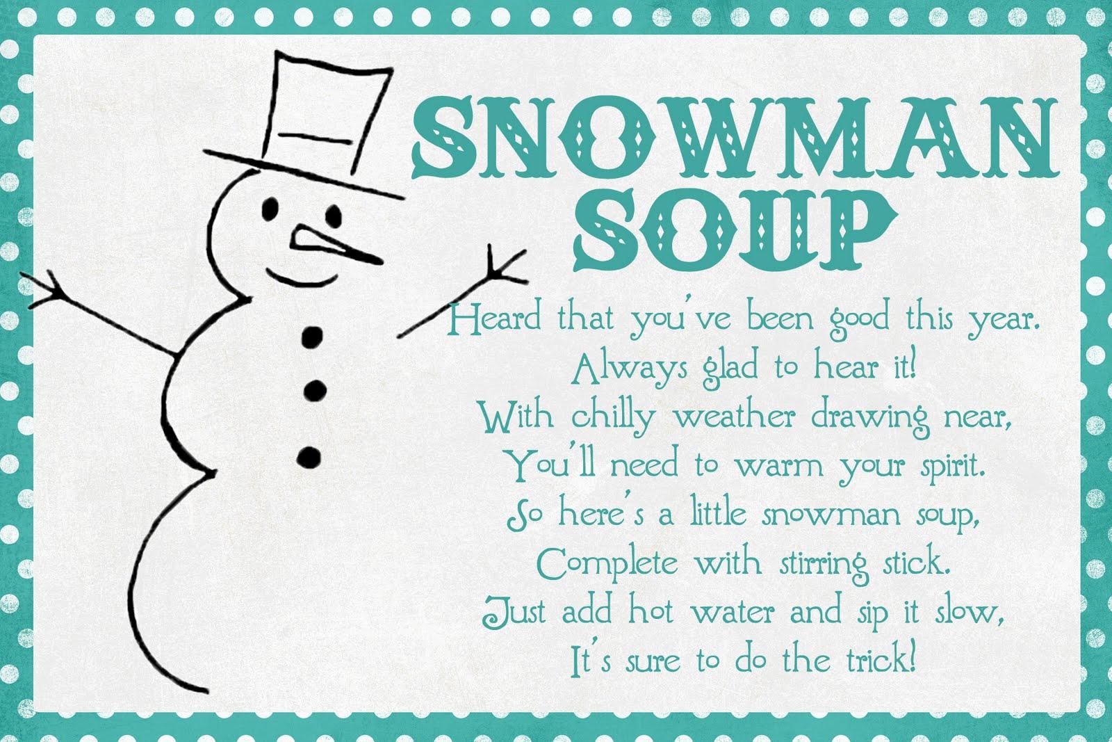 Printable Snowman Soup Poem